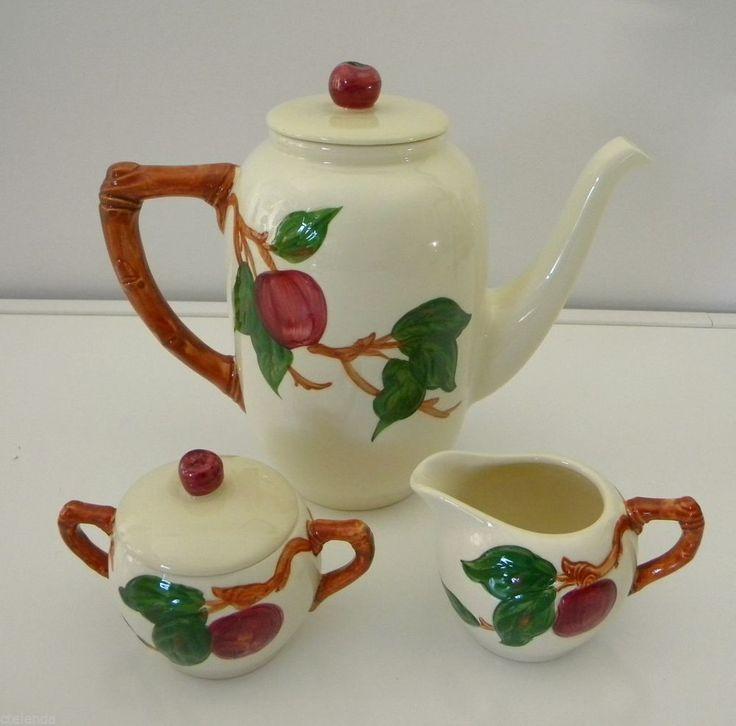 Apple Coffee Maker ~ Vintage franciscan ware apple coffee pot and creamer sugar