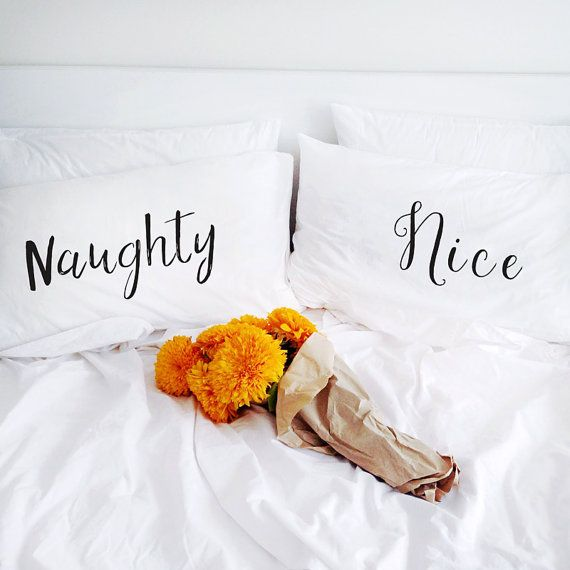 Naughty or Nice Pillowcase Set 2nd cotton anniversary gift for his him her husband men boyfriend