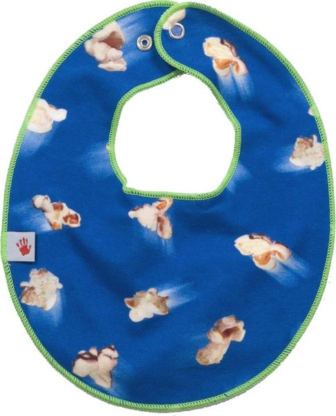 Baby bib with a funky popcorn print from the Danish design brand Molo.