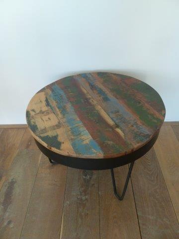 Ronde tafel sloophout en metaal. Verkocht!