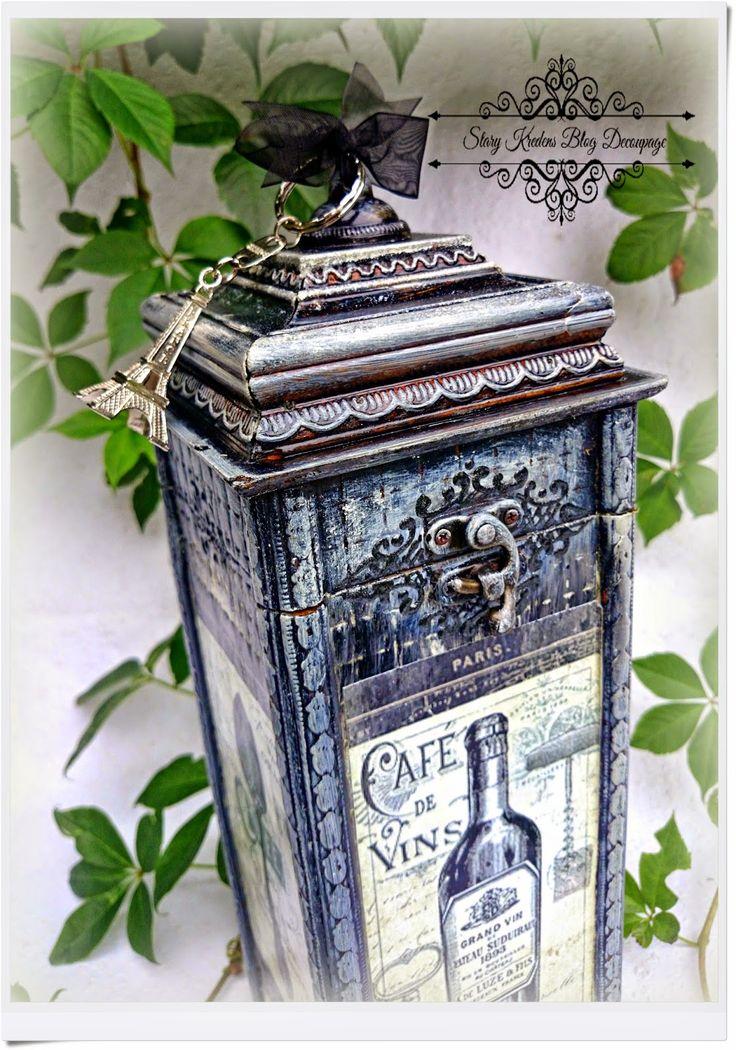Старый шкаф - Блог - Декупаж: Новое воплощение коробки для вина климате в Париже - Кафе де Винс - Декупаж