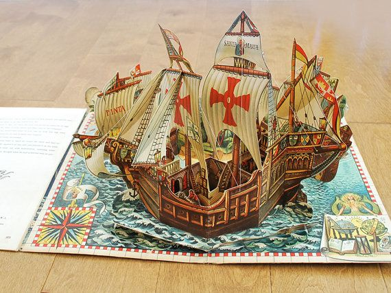 Antique Vintage Pop-up Book, Kubasta How Columbus Discovered America, Bancroft 1960