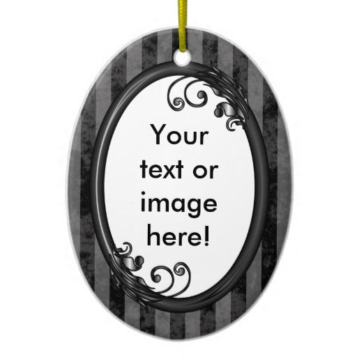 http://www.zazzle.com/black_grey_dark_vintage_frame_ornament-175393202241154453?rf=238523064604734277 Black Grey Dark Vintage Frame Christmas Tree Ornaments - This oval Christmas ornament has a black and grey striped, grunge background which looks faded and old. Place your name inside the shiny black frame with leaves and swirly vines growing from it.