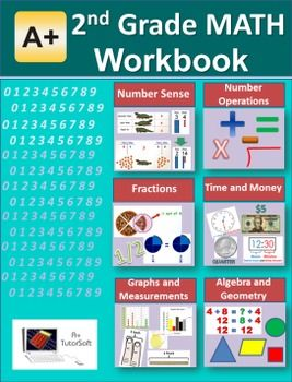 """""""A+ Math"""" 2nd Grade Math Workbook (Worksheet, Exams and Answer Keys). A total of 125 worksheets and 15 ready-to-go exams. It includes Counting and Identifying Numbers, Place Value, Writing Numbers and Number Combinations, Naming, Comparing and Arranging Numbers, Addition, Subtraction, Multiplication, Division, Rounding and Estimating, Fractions, Tables, Charts and Graphs, Algebra, Geometry, Time, Money, Measurements."""