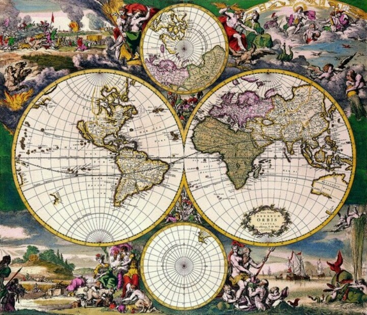 146 best maps of the world images on pinterest world maps antique maps of the world double hemisphere polar map frederick de wit c 1668 gumiabroncs Images