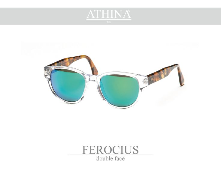 Mod. FER0102M02 Sunglasses with a rounded shape, made with a cristal transparent frontal and classic havana temples, totally in cellulose acetate. Provided with mirror green lenses.