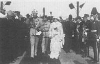 William, Prince of Albania and his wife Princess Sophie of Albania arriving in Durrës, Albania on 7 March 1914.