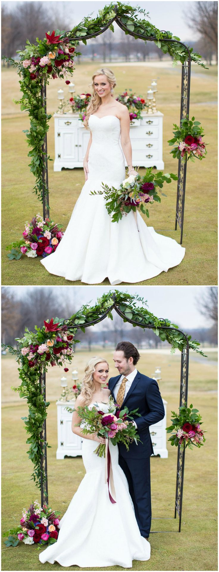 Ceremony arch, wedding décor, strapless wedding dress, fit and flare trumpet // Marissa Cribbs Photography