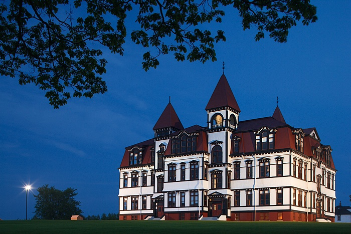 Lunenburg Academy, Lunenburg, Nova Scotia, Canada, photographed at night. #Canada #travel #buildings