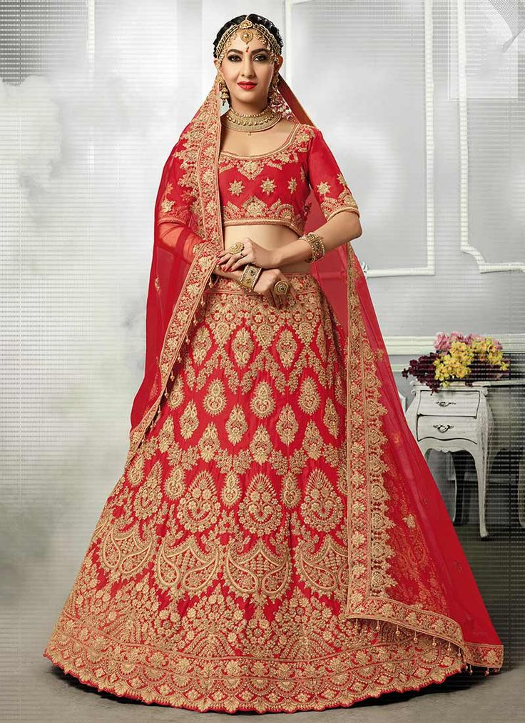 Buy Red Satin Silk A Line Lehenga online, SKU Code: GHSPRM7406. This Red color Wedding a line lehenga for Women comes with Embroidered Art Silk. Shop Now!