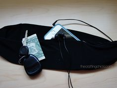 DIY Running Belt. Made to look like the flip-over part of yoga pants, but holds keys, phones, etc.