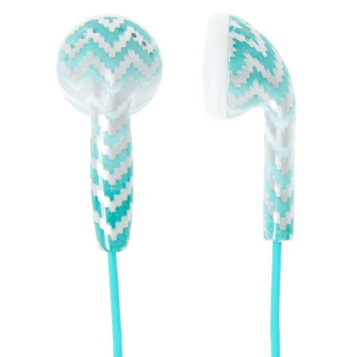 A trendy way to listen to your favorite tunes or your favorite podcast. Mint blue and silver chevron print ear buds are attached to a mint cord.