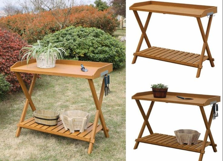 Potting Bench Outdoor Storage Garden Furniture Work Station Planting Table Patio #Unbranded