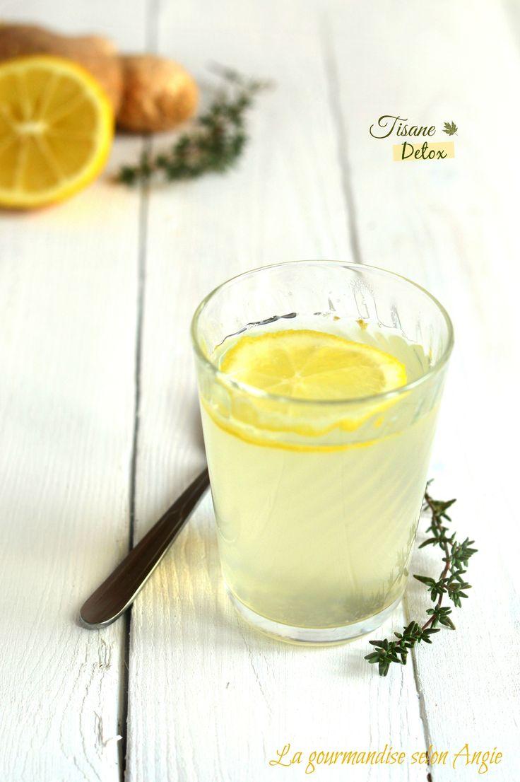 Tisane detox citron miel et gingembre : 50 cl d'eau chaude, 1-2 cm de gingembre frais, 1 citron, 2 cuillères à soupe de miel