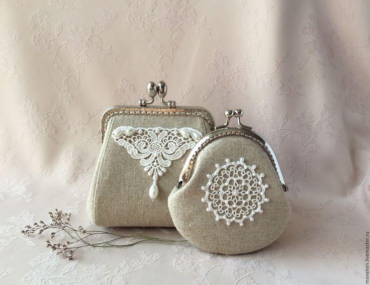 Купить Кошелек Лен и кружево - льняной, льняная ткань, натуральные материалы, кошелек ручной работы