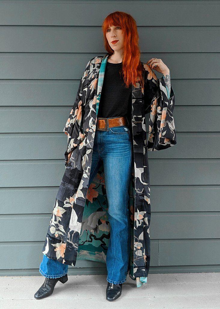 4018bf6e63a5 Spell Designs Black-to-Teal Reversible Nightingale Maxi Kimono with moons,  flowers, and cranes. Shopblacksalt.com!