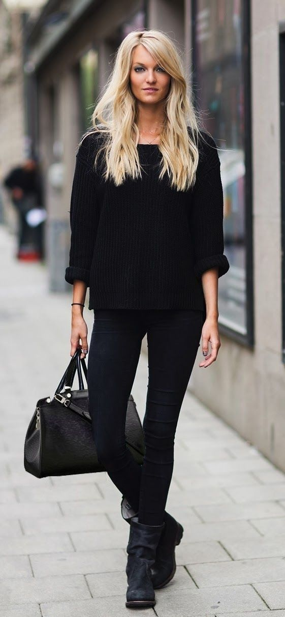 If you're a jeans-and-a-tee kind of gal, you'll like the simple combo of a black oversized sweater and black slim jeans. A pair of black suede boots will be a stylish addition to your outfit.   Shop this look on Lookastic: https://lookastic.com/women/looks/black-oversized-sweater-black-skinny-jeans-black-boots-black-tote-bag/5881   — Black Suede Boots  — Black Skinny Jeans  — Black Leather Tote Bag  — Black Oversized Sweater