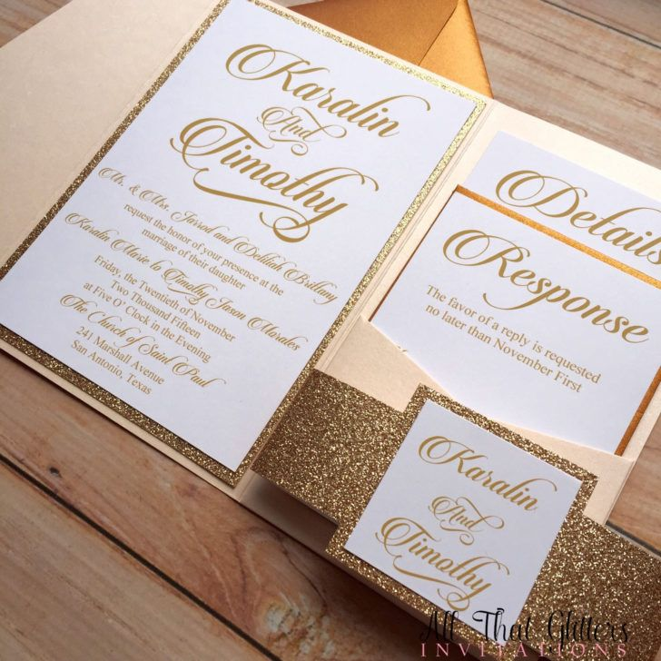Wedding Pocket Glitter Invitation Template Photo Rose Gold Pocketfold