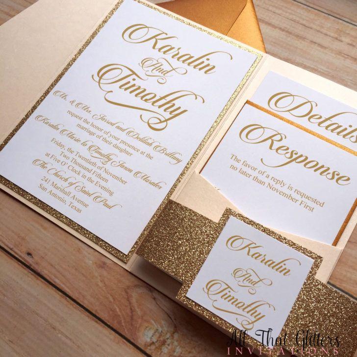 Wedding. Pocket Glitter Wedding Invitation Template Photo Rose Gold Pocketfold Wedding Invitation.