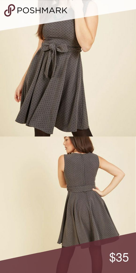 Modcloth Polka Dot Dress Gray A-line dress with black polka dots. Brand new, never worn! Modcloth Dresses Midi