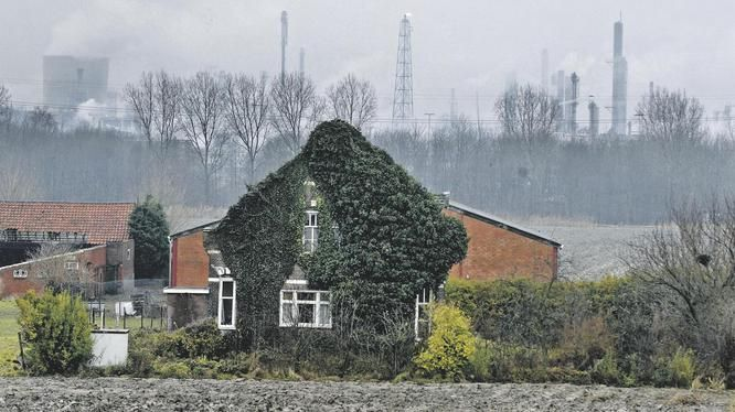Beeld van een boerderij in Terneuzen, met op de achtergrond het industrieterrein van Dow Chemicals.