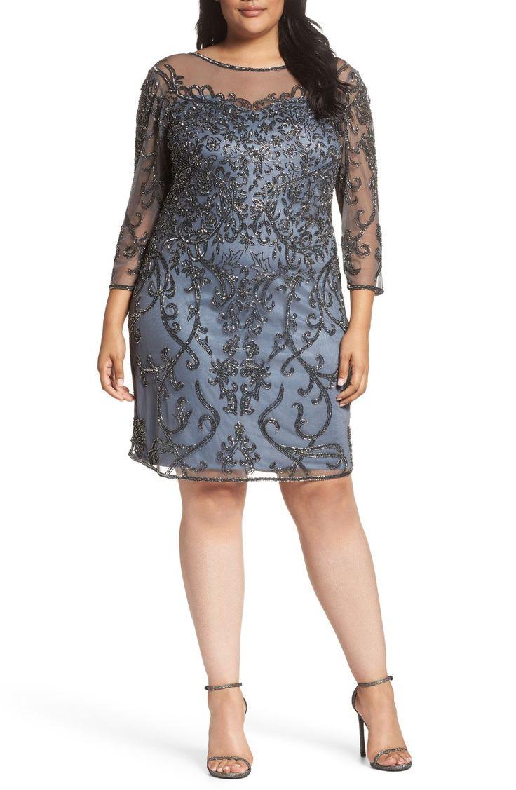 Main Image - Pisarro Nights Illusion Sleeve Beaded Sheath Dress