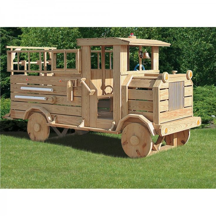 Amish Made 11x4 ft Wooden Fire Truck Playground Set