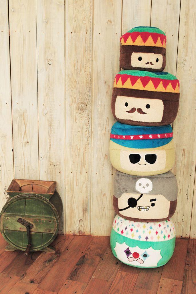 Des poufs sympas pour les enfants par Polkaros (fait au Japon mais envoi possible dans le monde entier) #kidsroom #ottomans