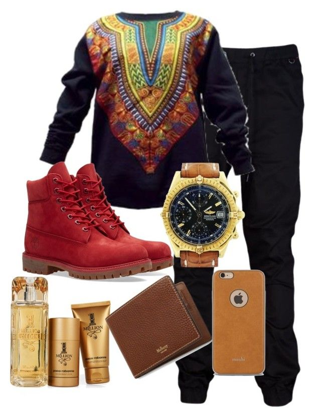 """Mens - Dashiki Prince"" by backatthecrib ❤ liked on Polyvore featuring Timberland, Breitling, Paco Rabanne, Mulberry, Moshi, men's fashion and menswear"