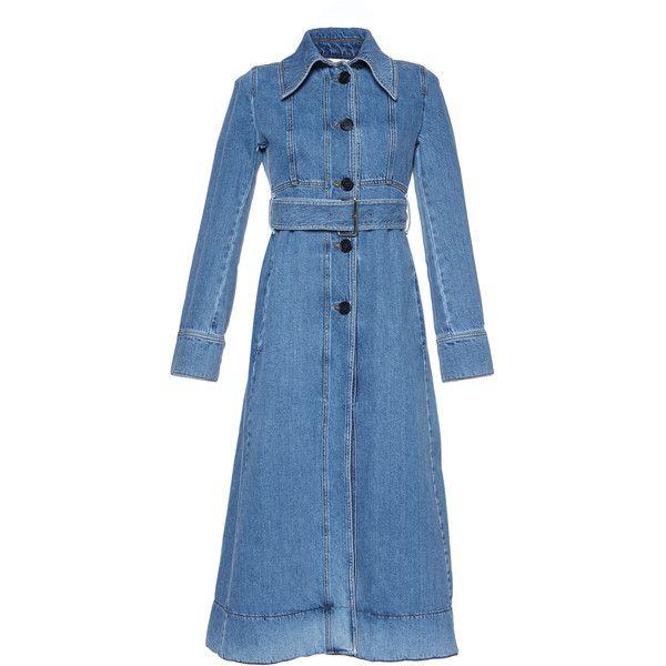 Denim Trench Coat | Moda Operandi ($1,440) via Polyvore featuring outerwear, coats, long sleeve coat, denim coat, trench coat, denim trench coat and tie belt