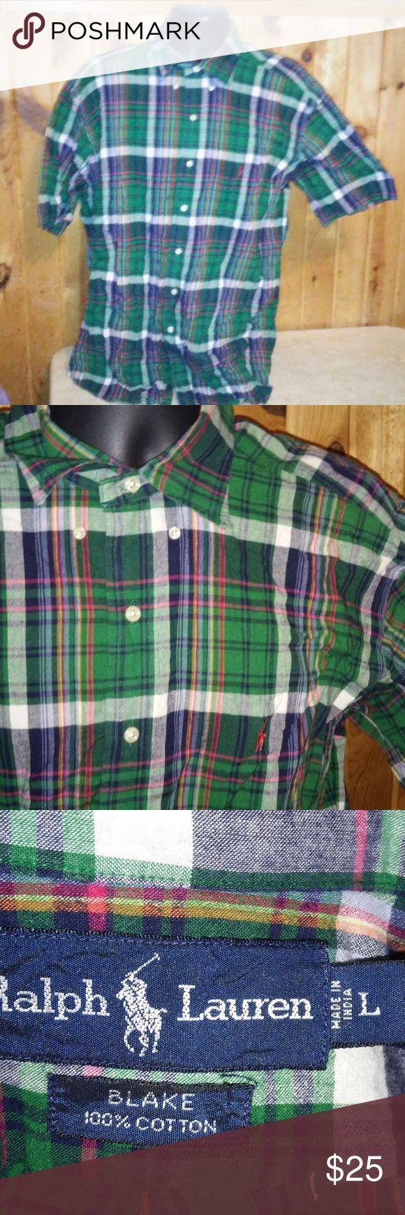 ralph lauren men L green red checks shirt T5 men size L 100% cotton button up short sleeve Ralph Lauren Shirts Casual Button Down Shirts