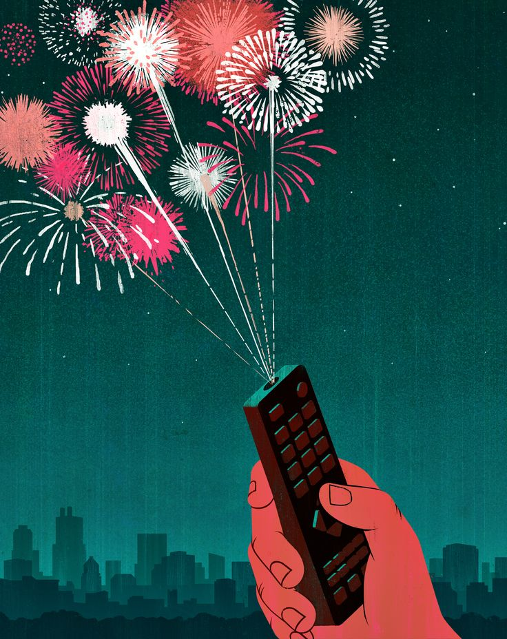 Joey Guidone - Creative impulses.  Editorial, Surrealism, Pop Surrealism, Conceptual, Design, Poster, New year's eve, Television, Remote control, Entertainment, Fireworks, Party