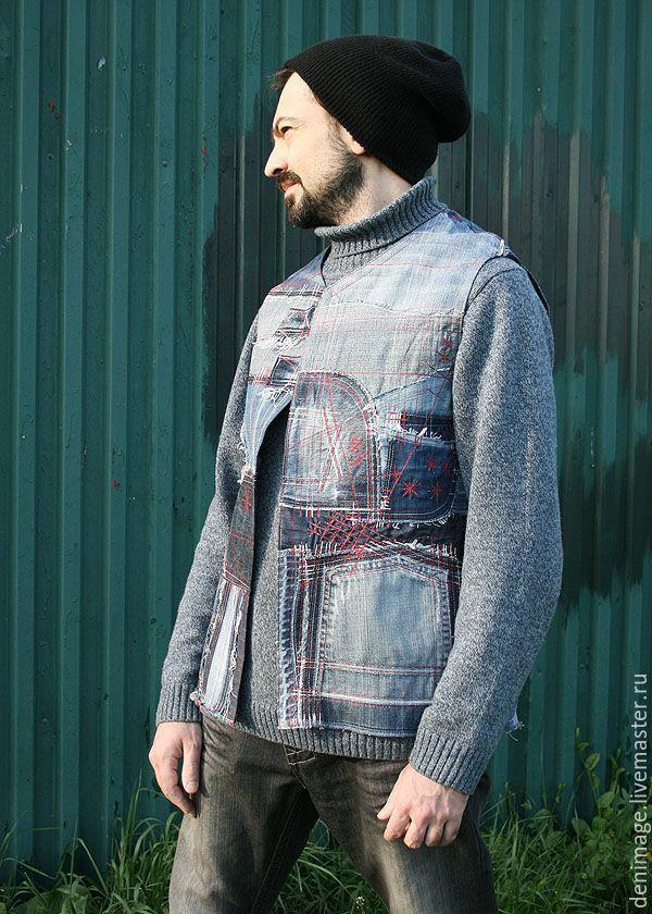 Купить Мужской жилет из денима - джинсовый стиль, жилет мужской, деним, хиппи стиль
