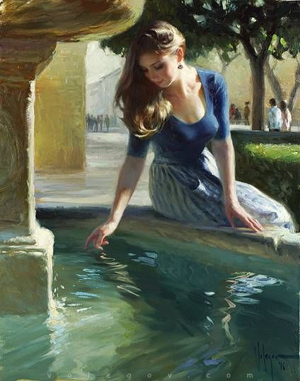 AT THE CITY FOUNTAIN, painting