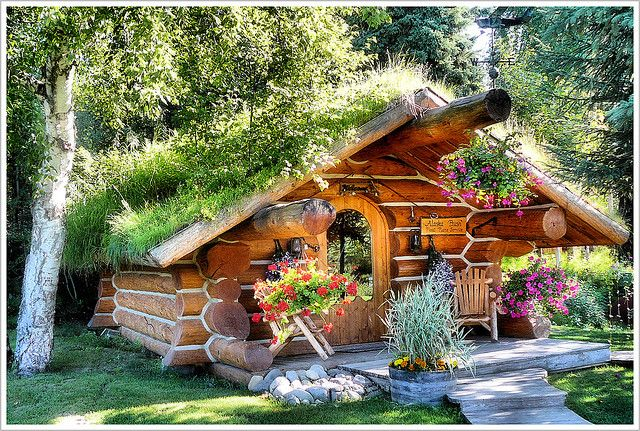 small cabin with flowers