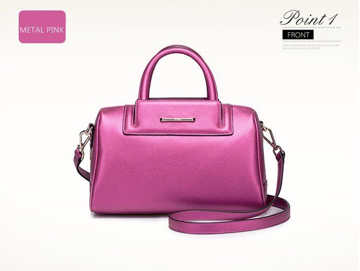 Różowa torebka skórzana w stylu bostońskim - propozycja nr 1 http://misskate.pl/eleganckie-torebki-skorzane-2016