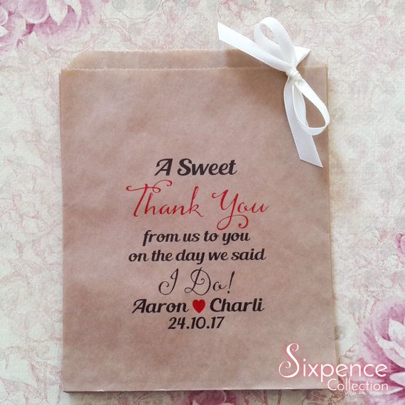 Personalised A Sweet Thank You I Do Kraft brown Paper Candy