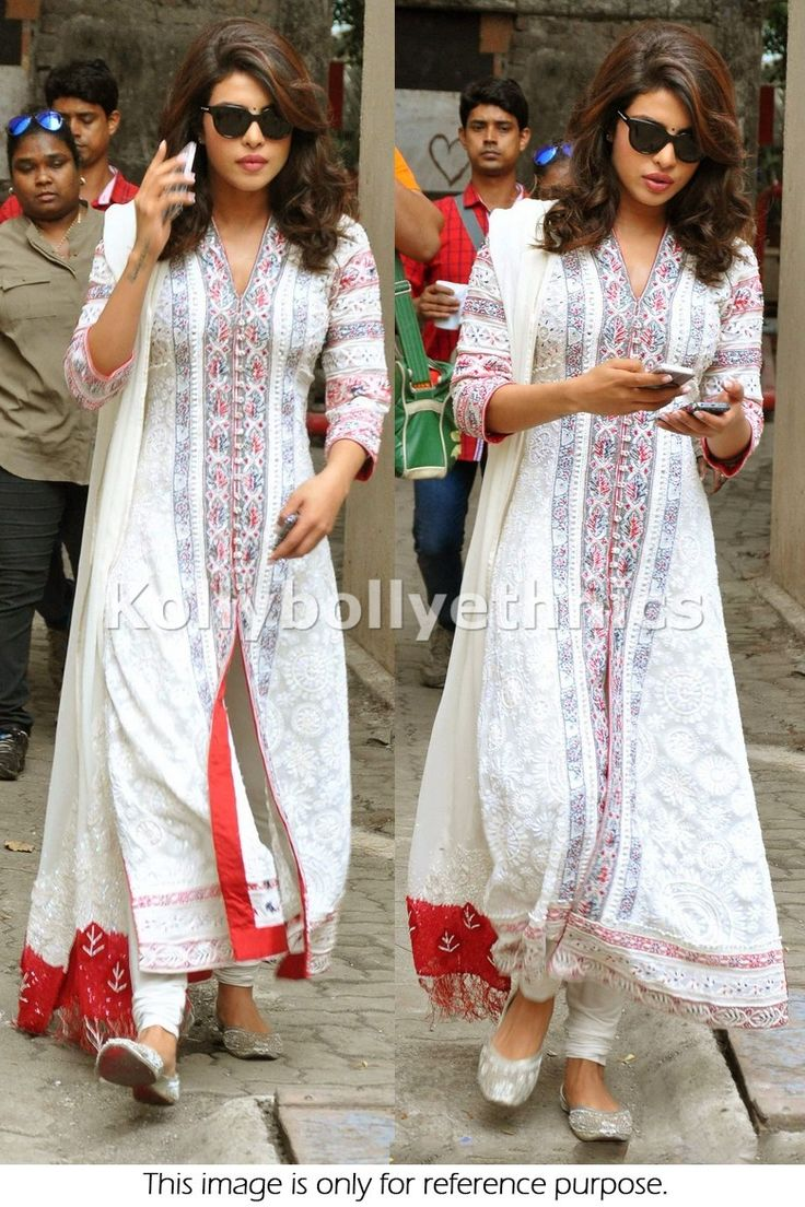 Bollywood Style Priyanka Chopra Georgette Anarkali in White and Red Color