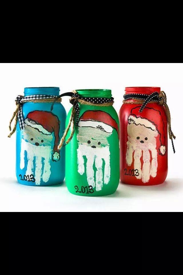 Julegave tips! Glass krukke# håndflate# julenisse