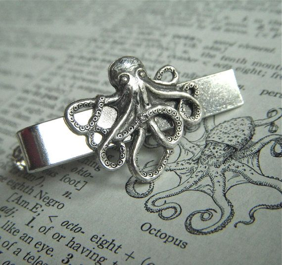 Silver Octopus Mens Tie Clip Nautical Steampunk Style Gothic Victorian Vintage Inspired Mens Tie Bars Accessories  Gifts