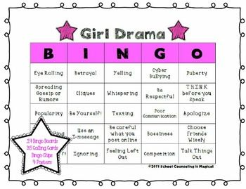 "help adolescent girls (5th-8th grade) learn how to better handle friendship drama.   Topics include: *Causes of Girl Drama *Girl Drama in Action *Avoiding Girl Drama  What's included?  •	14 different bingo cards •	35 different bingo calling cards (includes descriptions to help aid in group discussion) ""http://www.teacherspayteachers.com/Product/Drug-Awareness-Bingo-1260718"">Drug Awareness Bingo</a> <a href=""http://www.teacherspayteachers.com/Product/Calm-Down-Bingo-1209559"">Calm Down…"