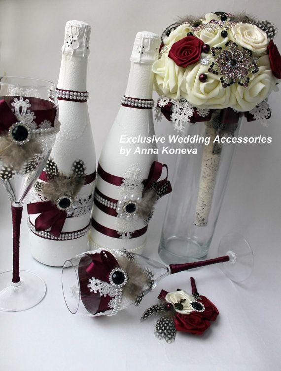 Красивая свадьба Сhampagne свадьба посуда от JewelryBouquet
