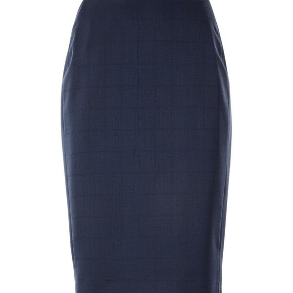 Jaeger Windowpane Pencil Skirt ($78) ❤ liked on Polyvore featuring skirts, maxi pencil skirt, patterned maxi skirt, navy blue skirt, print maxi skirt and navy maxi skirts
