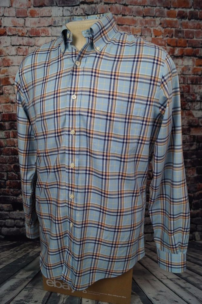 Brooks Brothers Slim Fit Non Iron Shirt Casual Dress Plaid Check Mens M Medium #BrooksBrothers #ButtonFront