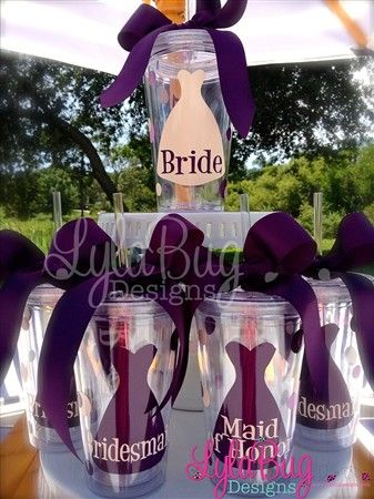 For my 5 girls and myself for fun drinks for the bachelorette party and getting ready the day of the wedding. :)  Would like it in purple, black and silver Bridal Party Tumblers / Bridal Party Gifts LylaBug Designs
