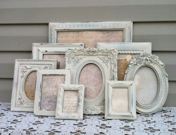 White French Country Picture Frame by RepurposedTreasure4U on Etsy