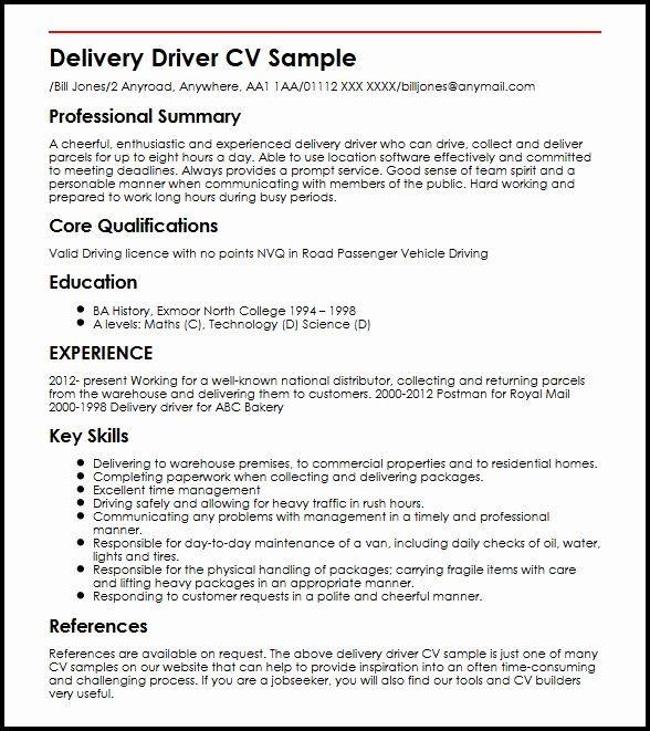 Delivery Driver Job Description Resume Inspirational Delivery Driver Cv Sample Myperfectcv Driver Job Job Resume Samples Resume Examples