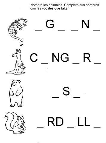 Mis recursos didácticos: Fichas para completar palabras con las vocales