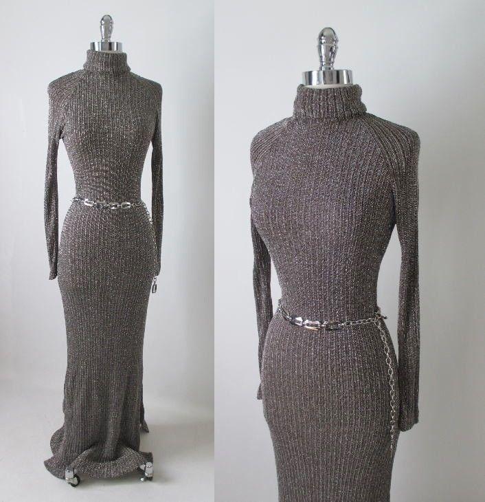 Vintage 70 s Sleek Silver Lurex Floor Sweeping Full Length Sweater Dress M 6cae24309