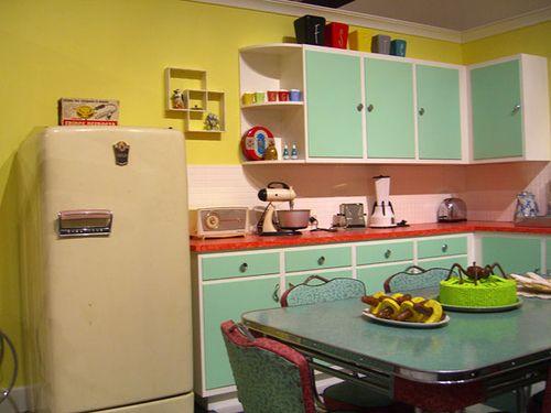 Kitchen ideas, love aqua and red!
